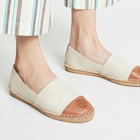 TORY BURCH Canvas Royal Tan Espadrille Shoes